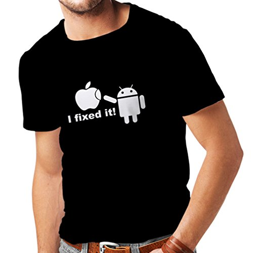 Lepni.me maglietta da uomo android robot and the apple (xxxxx-large nero fluorescente)