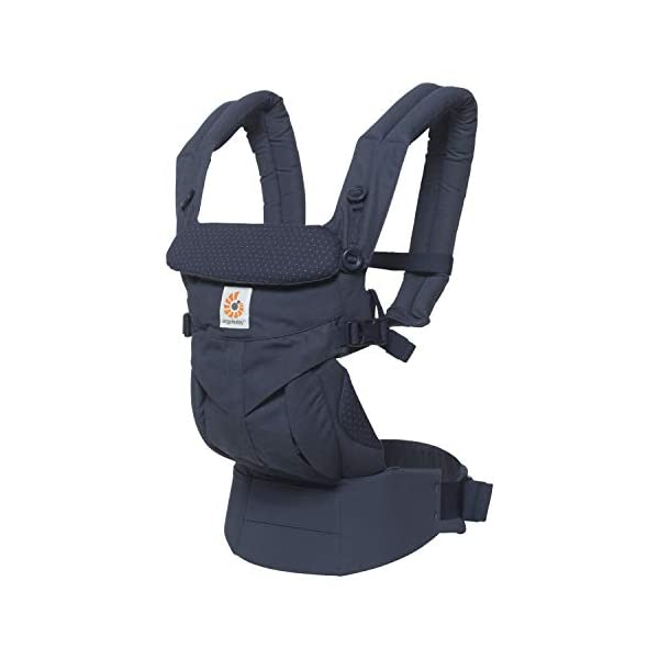 """ERGObaby Baby Carrier for Newborn to Toddler, 4-Position Omni 360 Navy Mini Dots, Ergonomic Child Carrier Backpack Ergobaby Baby carrier with 4 ergonomic wearing positions: parent facing, on the back, on the hip and on the front facing outwards. Supports hip-healthy """"m"""" shape position for baby's comfort and ergonomics. Adapts to baby's growth: Infant baby carrier newborn to toddler (7-33 lbs./ 3.2 to 20 kg), no infant insert needed. Tuck-away baby hood for sun protection (UPF 50+) and privacy. NEW - Maximum comfort for parent: Longwear comfort with lumbar support waistbelt and extra cushioned shoulder straps. 7"""