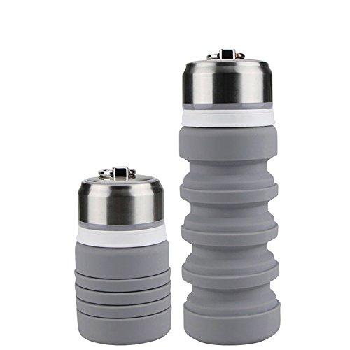 BPA-freie faltbare Trinkflasche, HiKeep medizinisches Silikon 400ML Wasserflasche, tragbar, Auslaufsichere und FDA Geprüft für Outdoor, Reisen, Radfahren-Schwarz (Grau)