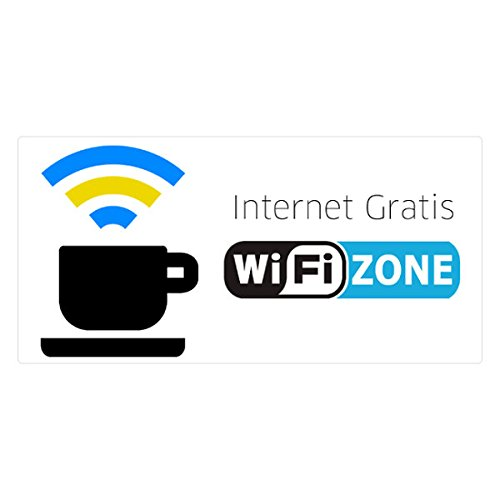 CARTEL PEGATINA DE ADHESIVO ZONA WIFI INTERNET GRATIS