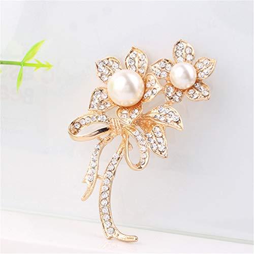 KYMLL Vintage Flower Imitation Perle Broschen Frauen Schnalle für Pullover Schal Mantel Dekoration