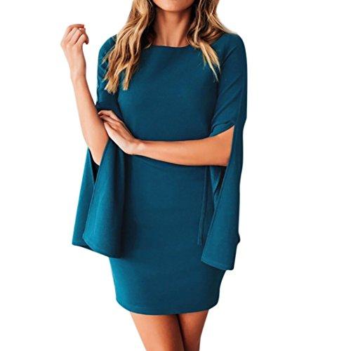 Mini Kleider Damen Elegant Teilt Design Lange Ärmel Bleistift Kleid Party DOLDOA
