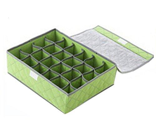 24 Grid abnehmbare Bambus Kohle praktische ordentlich Unterwäsche Box Socken Veranstalter Shorts Schublade Schrank Storage Bag grün Unterwäsche-schublade Veranstalter