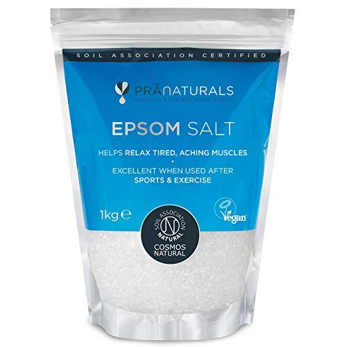 PraNaturals Epsom Sal 1 kg/5 kg, jabón de baño natural - rico en...
