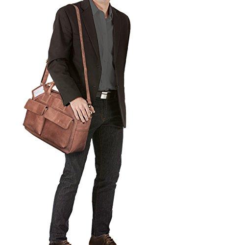 STILORD 'Carlo' Borsa da Ufficio in vera pelle Portadocumenti Piccola borsa da viaggio Valigetta 24 ore Cuoio Uomo Donna, Colore:ebano - marrone cognac
