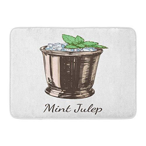 Badematte Flanell Stoff weich saugfähig braun Kentucky Cocktail Mint Julep für The Derby alkoholisches Getränk grüner Alkohol gemütliche dekorative Rutschfeste Memory Badezimmer Teppich (Grüne Derby Kind Hat)