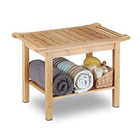 Relaxdays Bamboo Bathroom Bench, Hallway Seat, Wooden Storage Bench, HxWxD: 45 x 66 x 40 cm, Bathroom Furniture, Natural