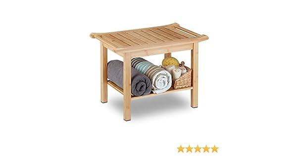Relaxdays bagno bank bambù sella bad mensola sgabello da bagno