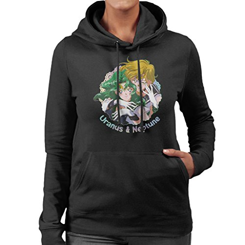 Sailor Moon Uranus And Neptune Embrace Women's Hooded Sweatshirt Black