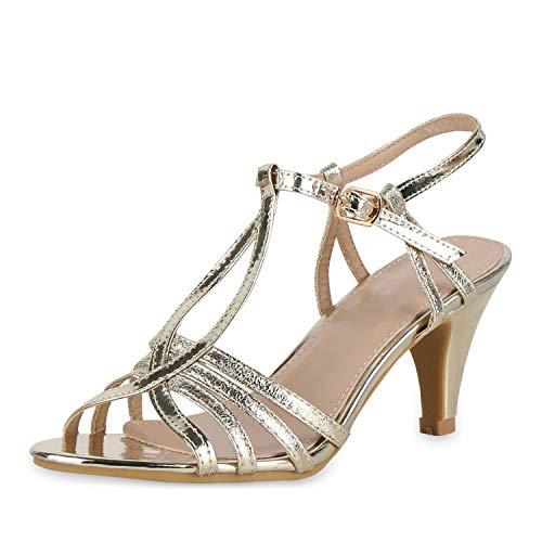 SCARPE VITA Damen Pumps Sandaletten Riemchensandaletten Metallic Party Schuhe Stiletto Absatzschuhe Elgante Abendschuhe Lack 180560 Gold Lack 39