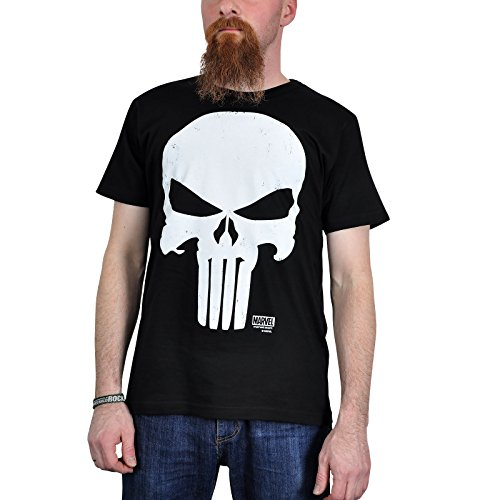 Punisher - T-Shirt Marvel Easy Fit con stampa comic retrò - Per veri fan dei super eroi - Licenza ufficiale - Nero - XL