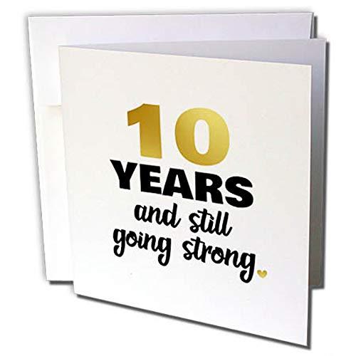 """3dRose gc_274353_2 Grußkarten zum 10. Hochzeitstag, englische Aufschrift""""10 Years Anniversary Still Going Strong 10Th Hochzeitstag"""", 12 Stück"""