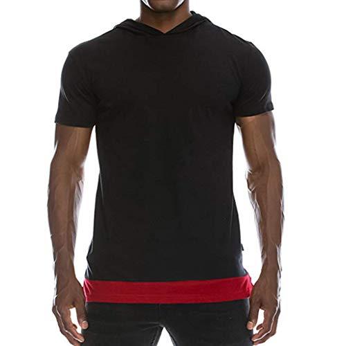 Shangqi Herren Sommer T-Shirt Slim Fit Baumwolle-Anteil Moderner Männer T-Shirt V-Neck Hoodie-Sweatshirt Kurzarm Oversize Herren Basic Sweatshirt Crew Neck Basic O-Ausschnitt Shirt