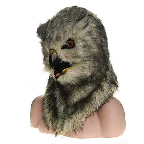 Lzy maschere vendita diretta pelliccia halloween maschera bocca commovente gufo simulazione divertente maschera animale cosplay,grigio