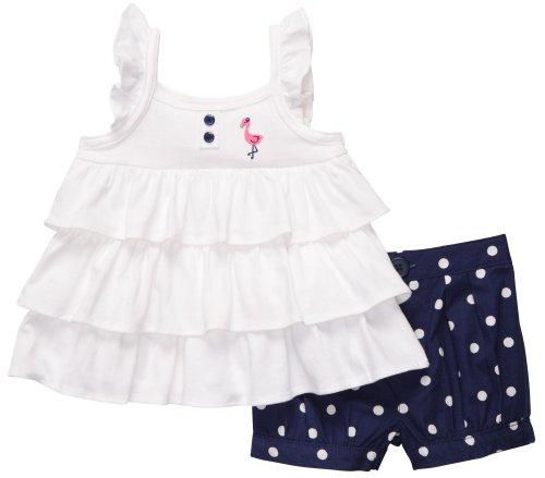 Carter's 2 teilige Kombination für Mädchen Body + Shorts / kurze Hose Baby girl dress Sommer Outfit Set (62/68, blau/weiss)