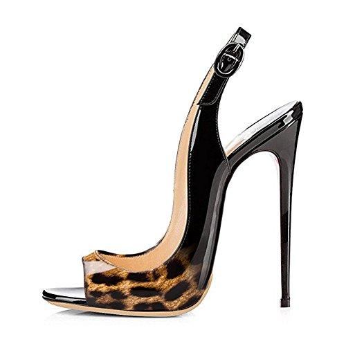 Cuckoo Frauen Peep Toe Slingback Heels Lackleder Pumps Schwarz Leopard-Schwarzes