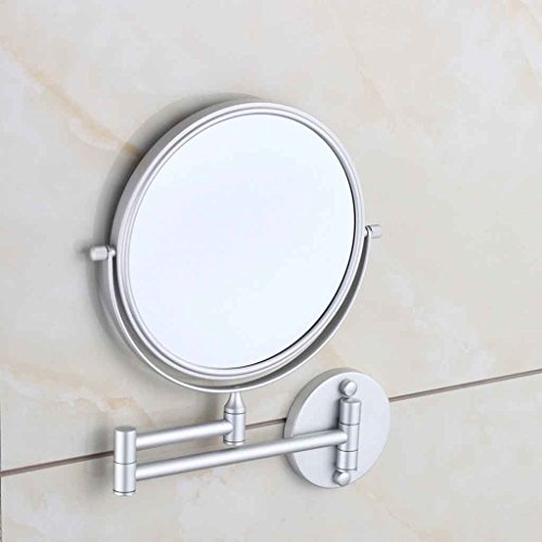 Miroirs cosmétique de Salle de Bain Mural de Toilette Pliant télescopique Double-Face de vanité de grossissement Double-Face Zoom Rotation à 360 °, Double Articulation