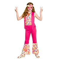 Groovy Hippie Costume Age: 5-7 Years Top w/attached waistcoat, trousers & headband Packaging: WP3 bag with reinforced hanger and full size colour insert card / 12 pcs per carton. Brand new