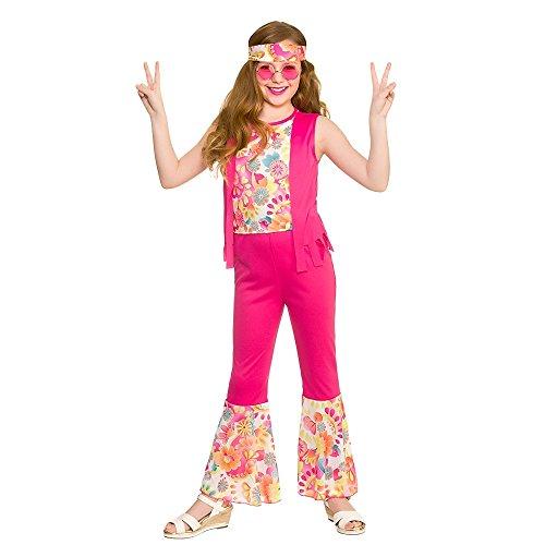 Mädchen Rosa Groovy Hippie Kostüm (5-7 Jahre)