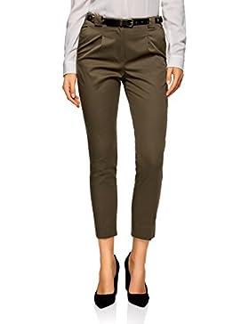 oodji Collection Mujer Pantalones de Algodón con Cinturón