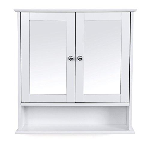 Spiegelschrank mit Ablage aus Holz 56cm
