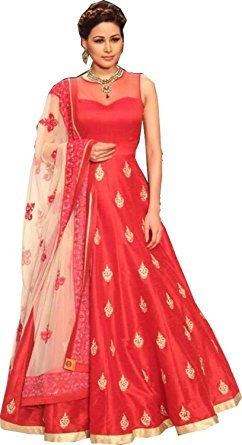 Bolly Lounge Women's Gown Latest Party Wear Designer Banglori silk Embroidery Semi Stitched Free Size Salwar Suit Dress Material Available On Sale