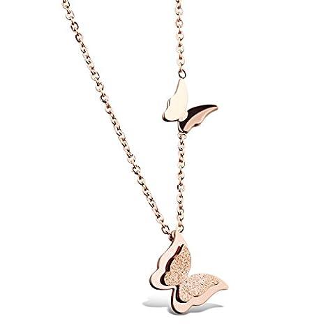 OBSEDE Femmes Chanceux Papillons Collier Charms Or Rose Plaqué Chaîne Collier