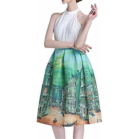 Paisaje Urbano De La Moda Las Mujeres Impresas De Cintura Alta Faldas De Tul Plisado Midi Completo