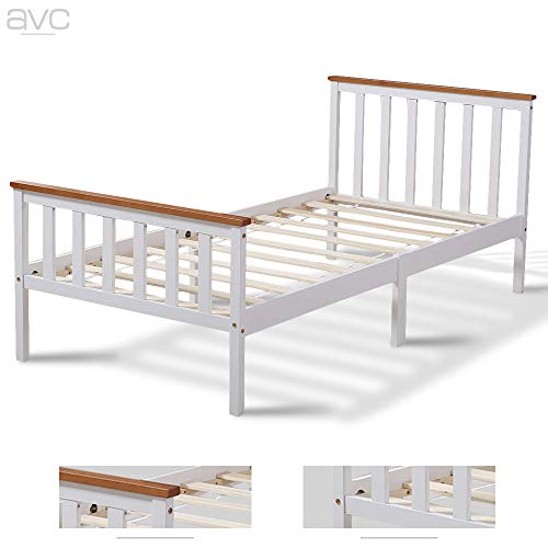 AVC Designs Single Pine Bed Frame 3ft White Wooden Shaker Style Bedroom Furniture (White/Oak)