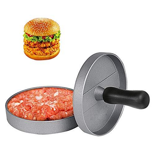Foodie Burgerpresse, Aluminiumlegierung Non Stick Meatloaf Mold Gefüllte Hamburger Maker Set für perfekte Hamburger Patties F-004 (Farbe : Silber, größe : Diameter 4.53 inches)