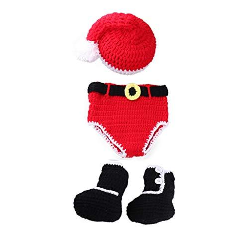 Fliyeong Neugeborenes Baby häkeln gestrickte Weihnachtsmann Mütze Windel Stiefel Weihnachten Stil Outfit Kostüm Fotografie Prop für Baby (0-4 Monate)