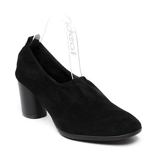 Ideal Shoes Escarpins Effet Daim à Talon Épais Galeana Noir