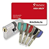 Vachette Radialis - Cylindre de Serrure 32,5x32,5 mm pour Porte Extérieure/Entrée | Très Haute Sécurité, 4 Clés Incopiables, Carte de Propriété, Inox