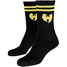 Wu Wear Logo Calcetines, Hombre, Logo Socks, Blk/Yellow, 43-