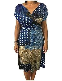 b931966c4655 CARLA MONTANARINI Abito Donna Jersey Fantasia Blu Moro Made in Italy