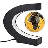 Schwimmende Kugel Schreibtisch Lampe LED Lichter Magnetschwebebahn sich hin und herbewegende Weltkarte sich drehende Kugel mit C Form Unterseite und bunte LED Licht pädagogische Geschenke(Golden)
