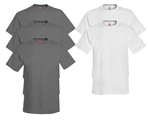Hanes Men's Tagless Comfortsoft Crewneck T-shirt (Pack of 5) 3 Smoke Gray / 2 White