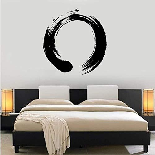 Wangyy Persönlichkeit Muster Vinyl Wandtattoo Yoga Wand Kreis Enso Kalligraphie Nirvana Aufkleber Für Wohnzimmer Schlafzimmer 57X58 Cm - Kreise-wand-skulptur