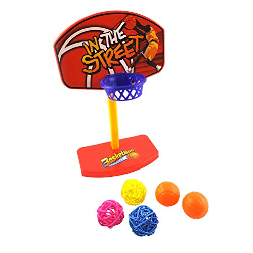Ueetek Birdie basketball Bird Toy mini basketball Hoop set giocattolo educativo Developmental giocattolo da mordere con palline per uccello pappagallo ara