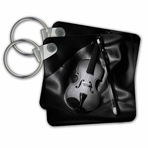 3dRose Still-Life Schlüsselanhänger, Motiv Violine, Schwarz/Weiß, 6