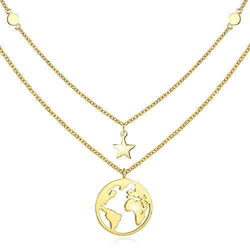 Goldkette Damen mit Weltkarten Anhänger 925 Sterling Silber Doppelkette Halskette Schmuck für Frauen Madchen Kettenlänge 18 Zoll mit Geschenkbox(Weltkarten-2)