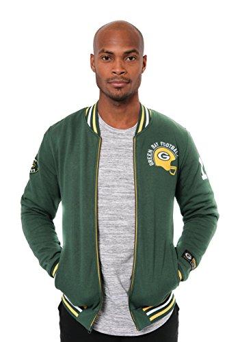 ICER Brands NFL bestickte Fleece-Jacke mit Reißverschluss, für Herren, Green Bay Packers L/S Zip FRNT Jacket, grün (Band Green Bay Packers)