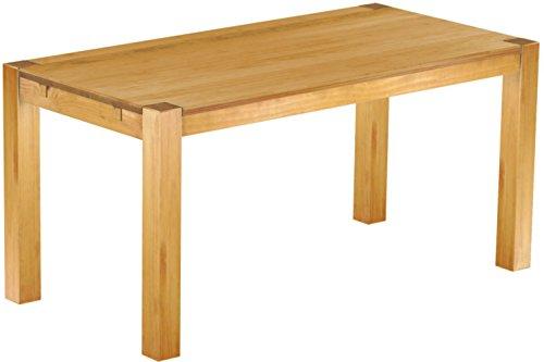 Brasilmöbel® Esstisch 160x80 Rio Kanto - Honig Pinie Massivholz - Größe & Farbe wählbar - Esszimmertisch Küchentisch Holztisch Echtholz - vorgerichtet für Ansteckplatten - Tisch ausziehbar