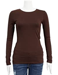 Brown Ladies Crew Neck Long Sleeve T-Shirt