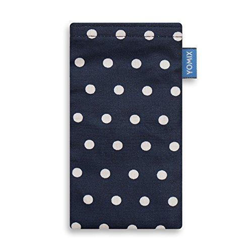 YOMIX Handytasche GUNILLA blau mit Strahlenschutz für Apple iPhone 7 aus beschichteter Baumwolle mit genialer Display-Reinigungsfunktion durch Microfaserinnenfutter