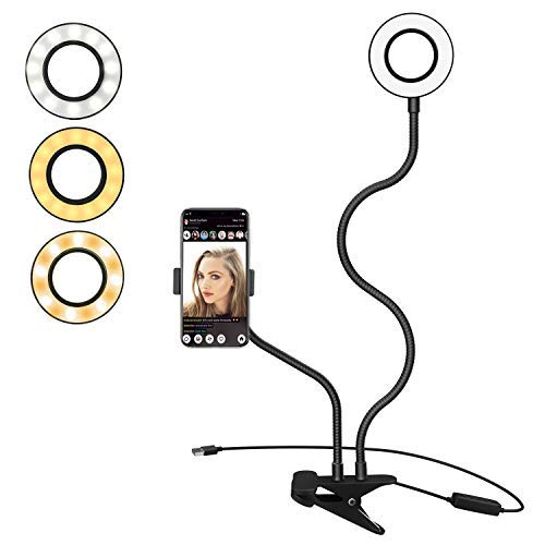 MoKo Selfie Ring Light with Cell Phone Holder Stand for Live Stream/Video/Makeup, 3-Light Mode 10-Level Brightness LED Light with Flexible Arms Compatible with iPhone XS/XS Max/XR/X, Galaxy S9, Black