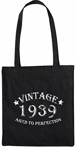 Mister Merchandise Tote Bag Vintage 1939 - Aged to Perfection 76 77 Borsa Bagaglio , Colore: Nero Nero