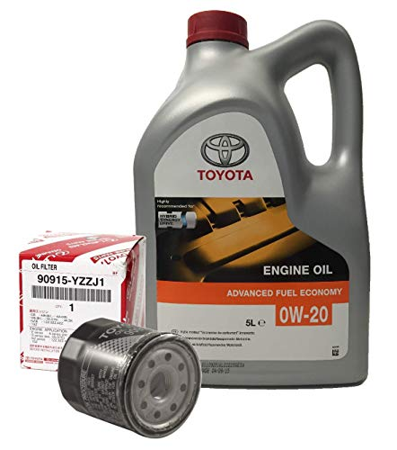 Pack Duo Toyota Genuine Service Kit Hybrid Oil Engine 0W-20 5 Litri + Filtro Olio 90915-YZZJ1