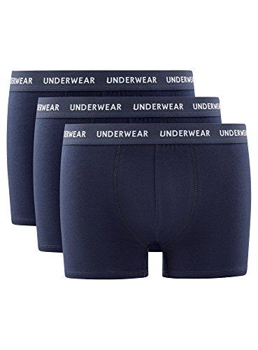 oodji Ultra Herren Boxershorts Basic (3er-Pack) Blau (7900N)
