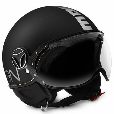 Casco Demi Jet Momo Design Color Fighter Evo Negro Mate/Blanco Talla S